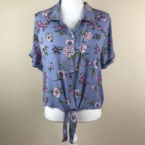 Gypsies & Moondust Tie Front Short Sleeve Blouse